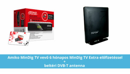 mindigTV PRÉMIUM Alapcsomag Prime dekóderrel (6 hónapos előre fizetett csomag) + beltéri DVB-T antenna