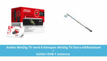 MinDig TV Extra Alapcsomag Amiko Impulse dekóderrel (6 hónapos előre fizetett csomag) + kültéri DVB-T antenna