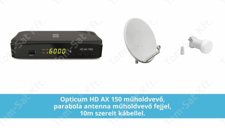 Műholdvevő csomag - Opticum HD beltéri egység, antenna, LNB és kábel együtt